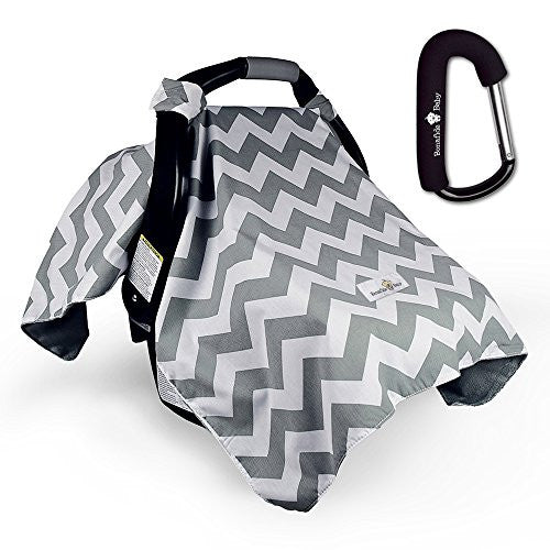 Bonafide Baby Car Seat Covers With Free Stroller Hook - Grey Chevron With Soft Plush Backing