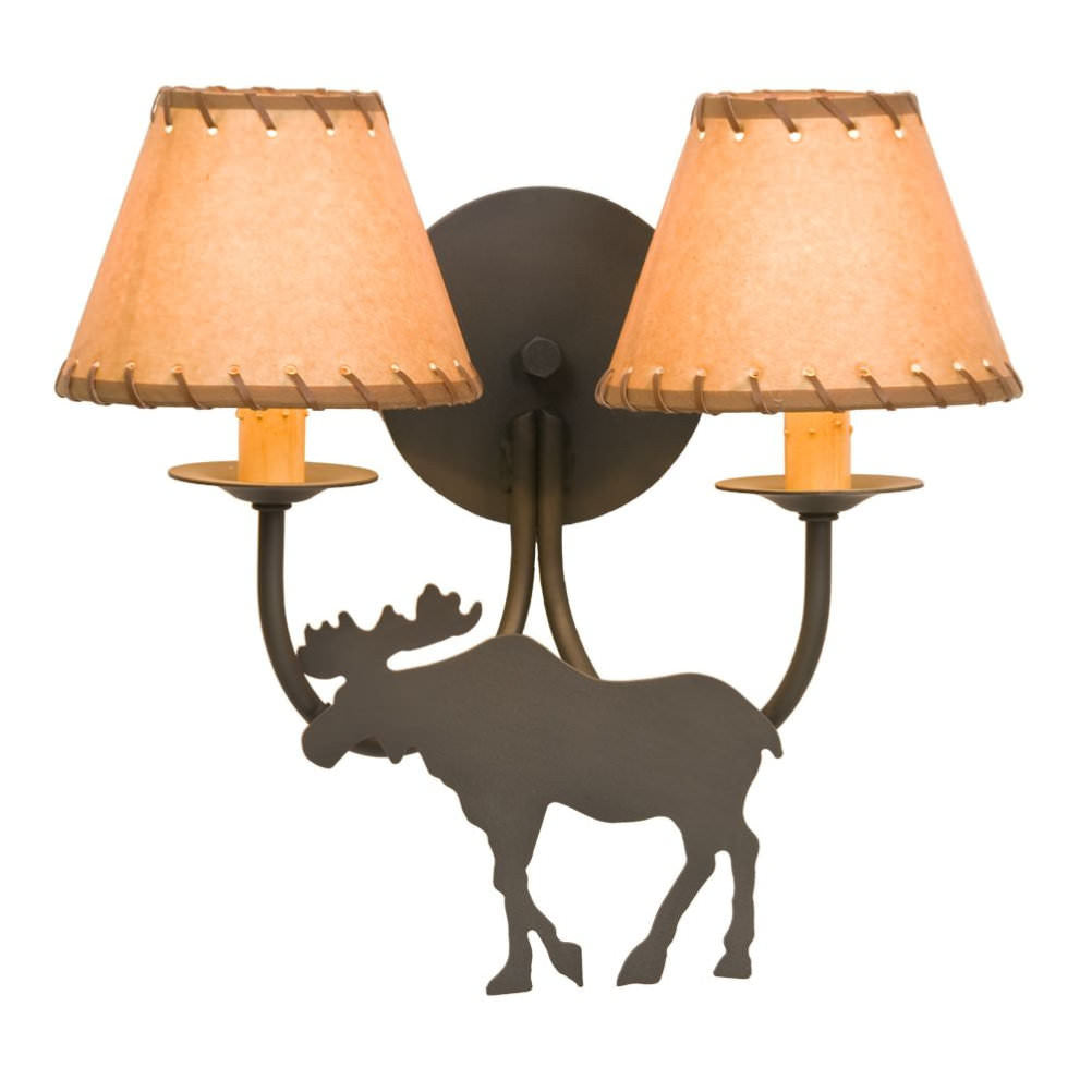 Double Moose Wall Sconce