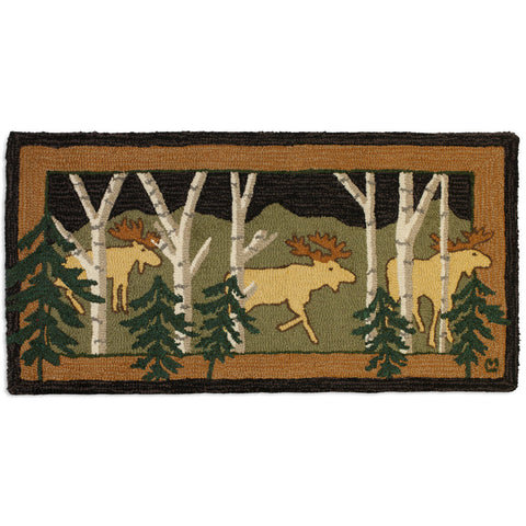 3 Birch Moose Hooked Wool Rug 2' x 4'