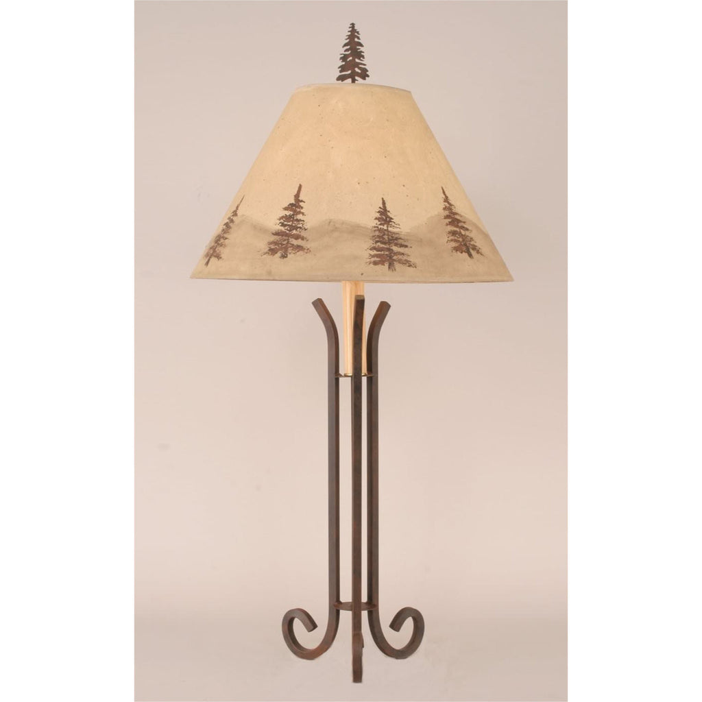 3 Leg Iron Table Lamp with Pine Tree Shade