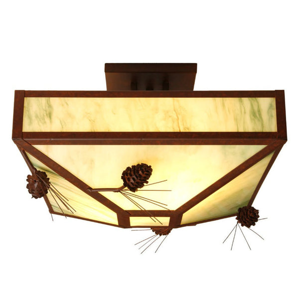Ponderosa Pine Four Post Drop Ceiling Mount Light