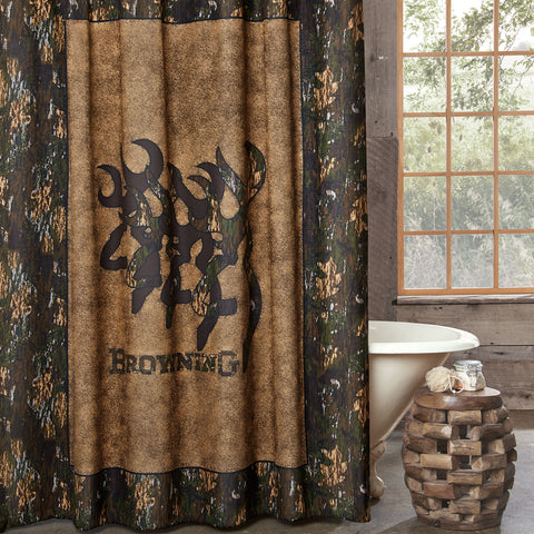 3D Buckmark Shower Curtain