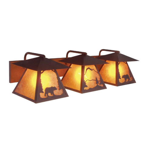 Prairie Bear Triple Vanity Light