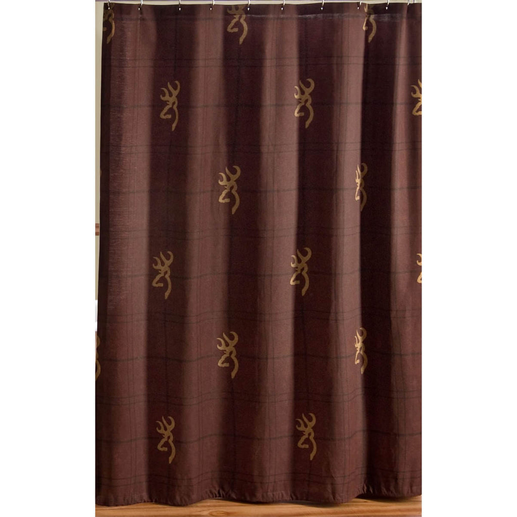 Buckmark Burgudy Shower Curtain