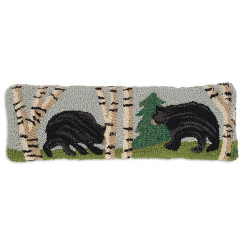 "Bear in the Woods Hooked Wool Pillow 8"" x 24"""
