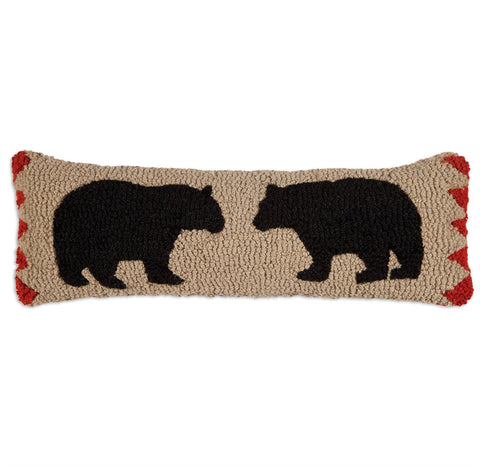 "Two Black Bears Hooked Wool Pillow 8"" x 24"""