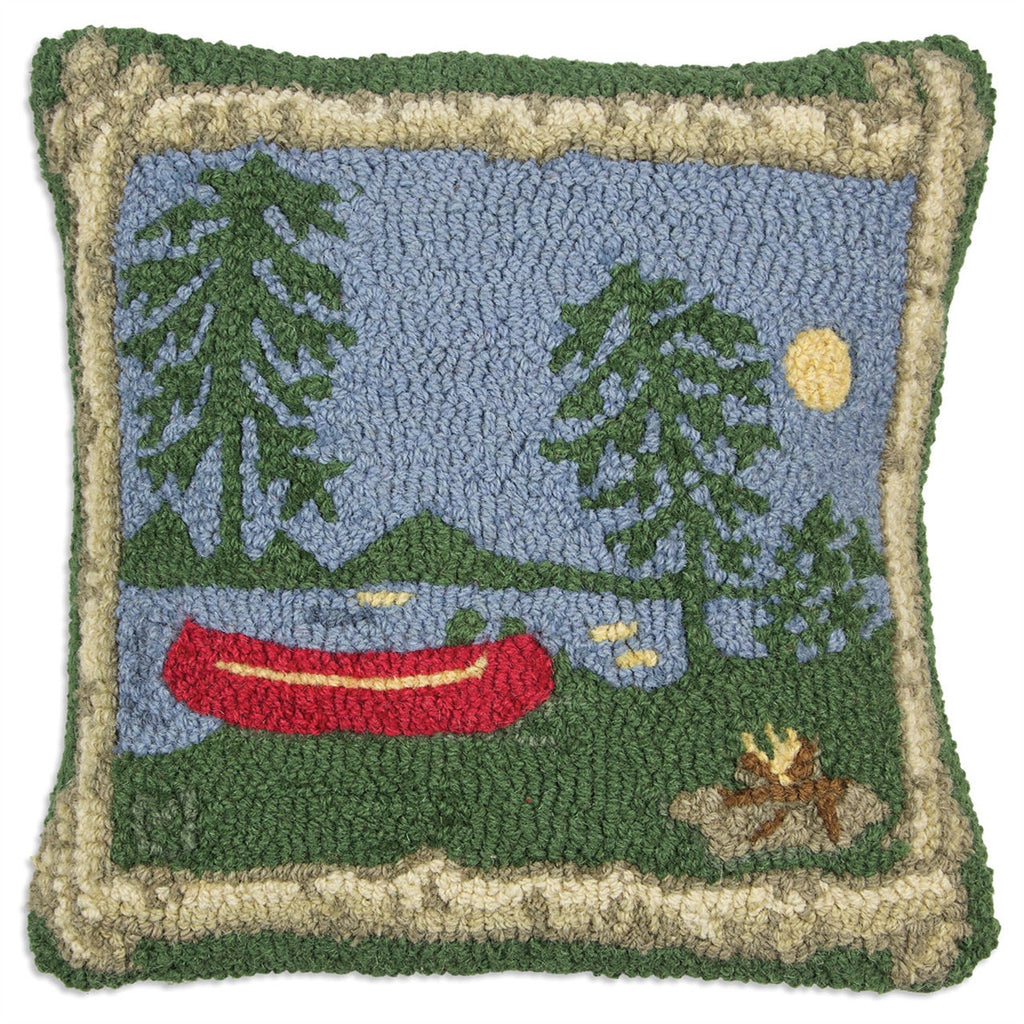 Campfire Hooked Wool Pillow 18""