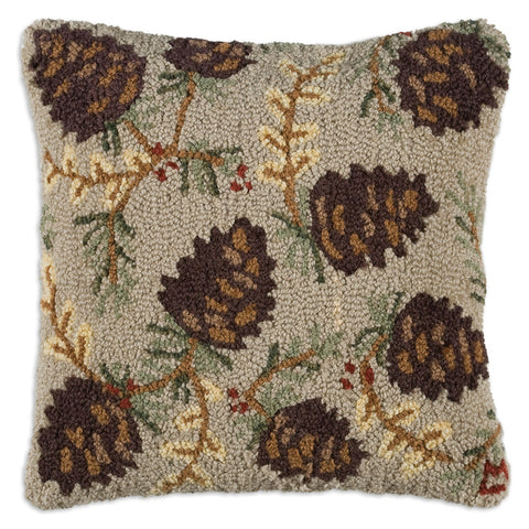 Northwoods Cone Hooked Wool Pillow 18""