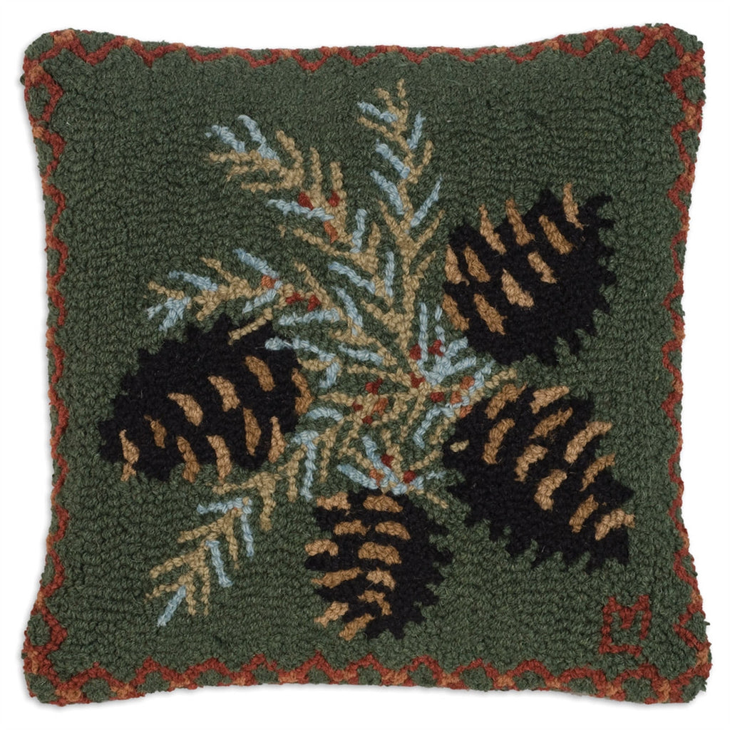 Diamond Pinecone Hooked Wool Pillow 18""