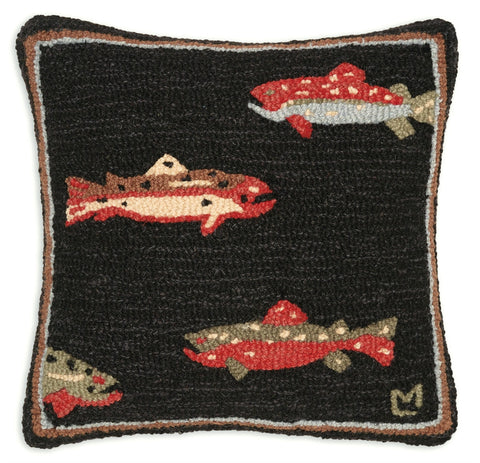 Trout Hooked Wool Pillow 18""