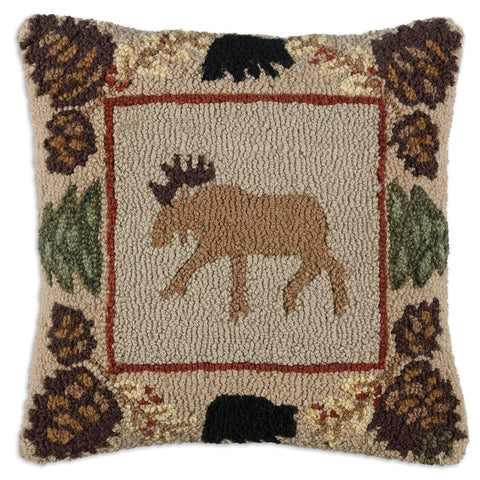 Northwoods Moose Hooked Wool Pillow 18""