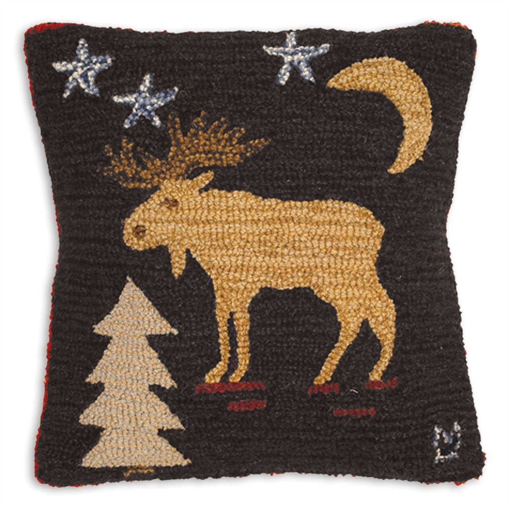 Night Moose Hooked Wool Pillow 18""