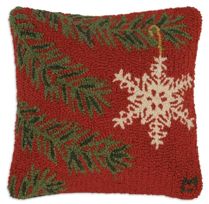 Ornament Flake Hooked Wool Pillow 18""
