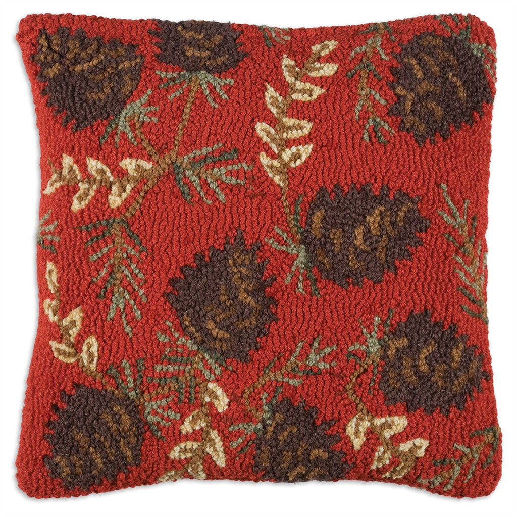 Ruby Pinecones Hooked Wool Pillow 18""
