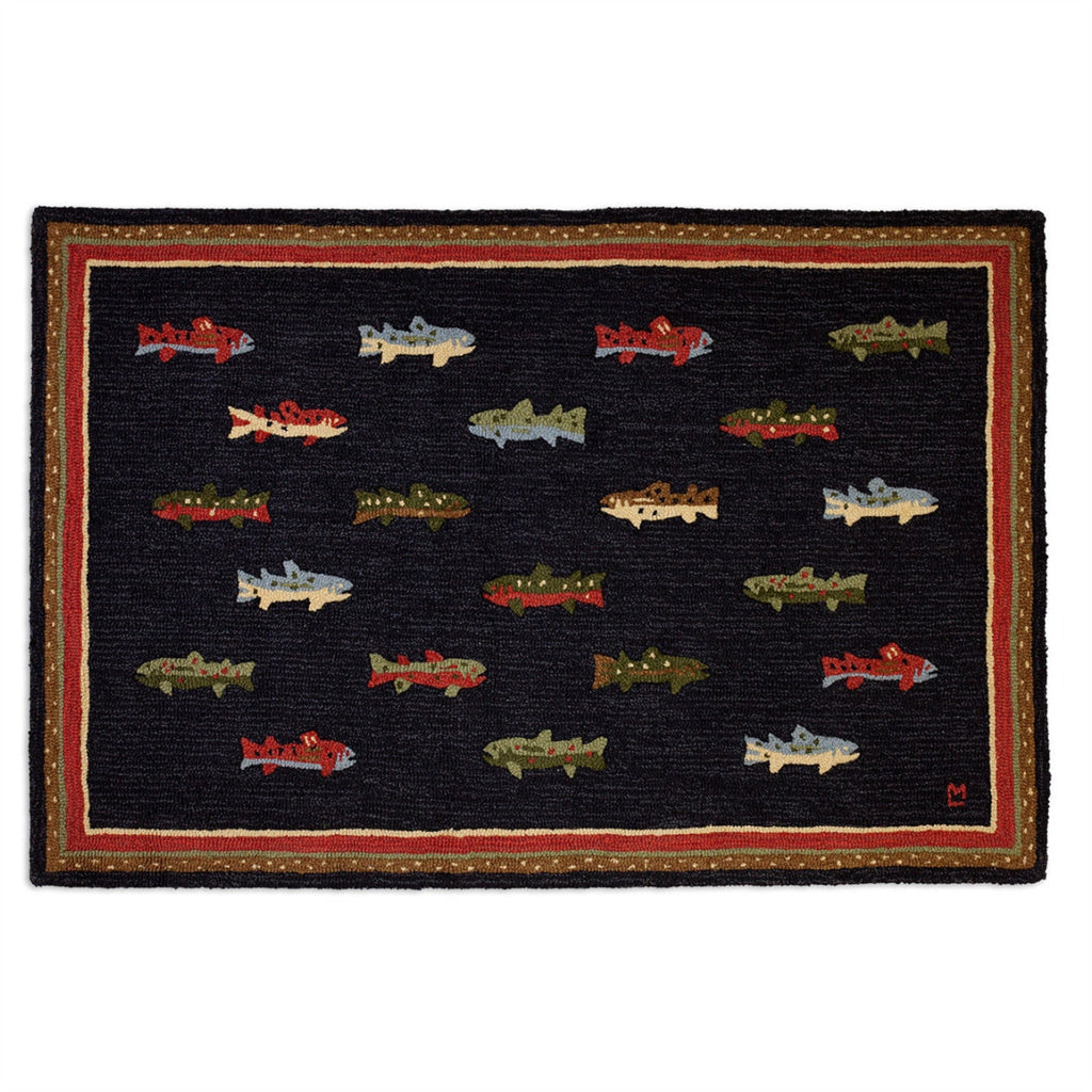 River Fish Hooked Wool Rug 4' x 6'