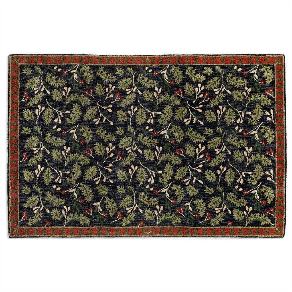Oak Leaves Hooked Wool Rug 6' x 9'