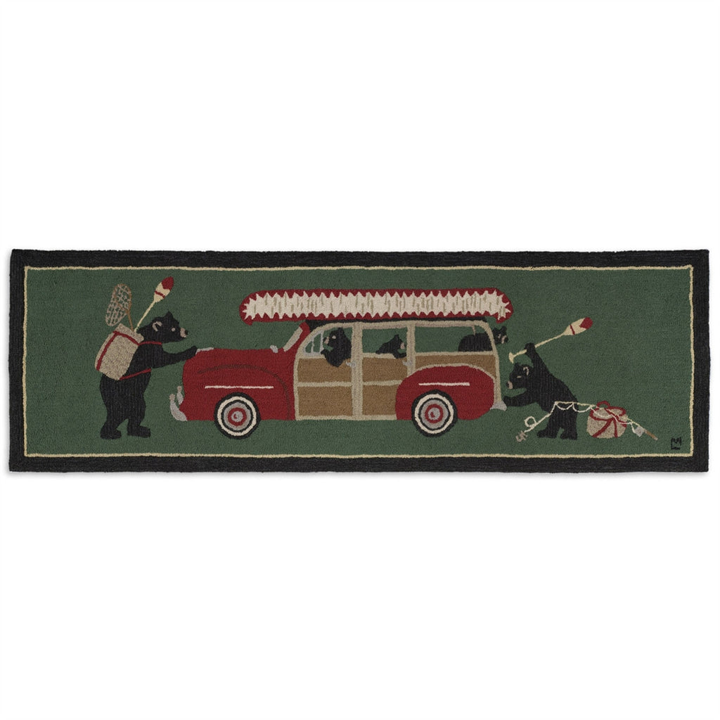 "Woody Wagon Bears 30"" x 8' Hooked Wool Runner"