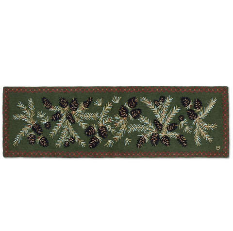 "Diamond Pinecone 30"" x 8' Hooked Wool Runner"