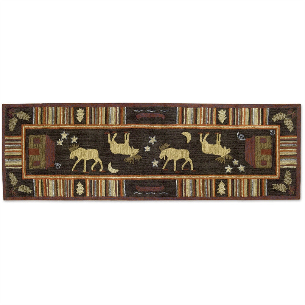 "Night Moose 30"" x 8' Hooked Wool Runner"