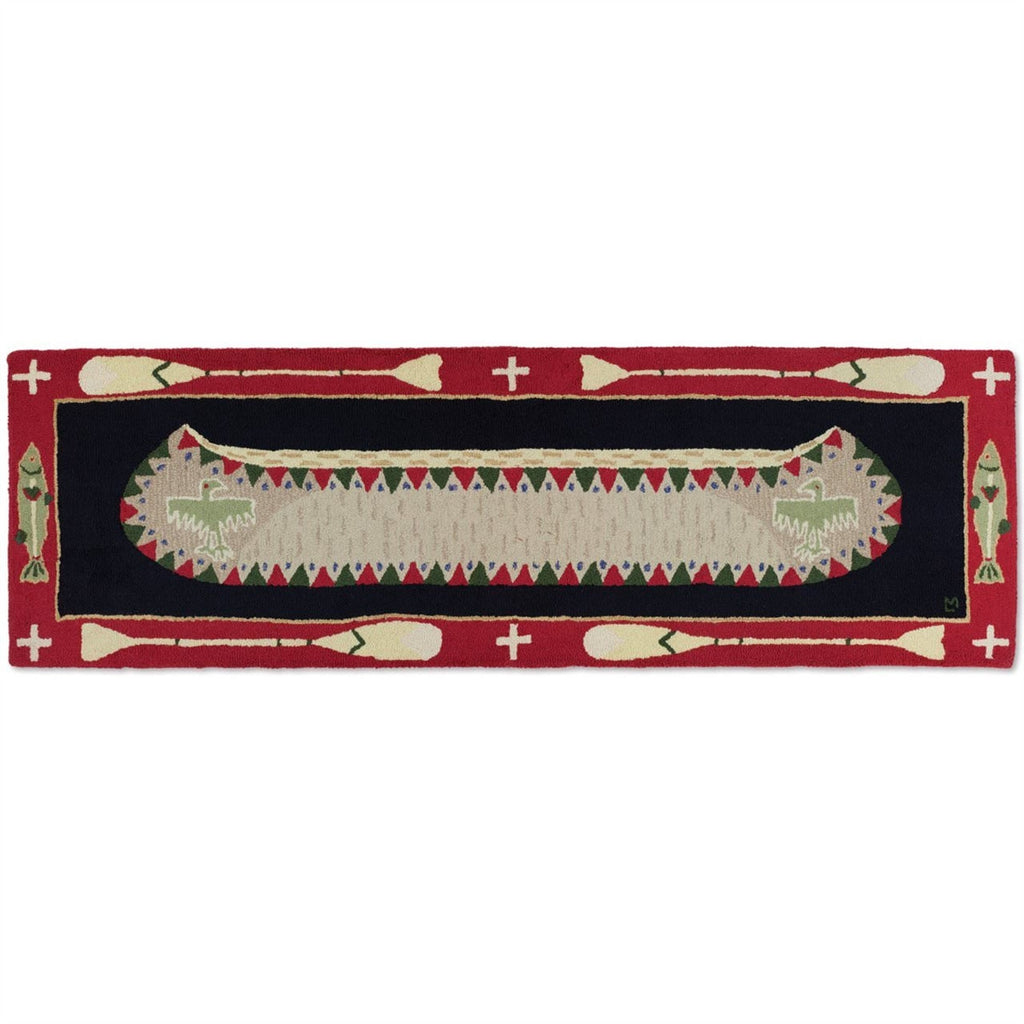 "Long Boat Red 30"" x 8' Hooked Wool Runner"