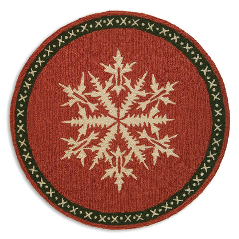 Snow Crystal Flake Round Rug 36""