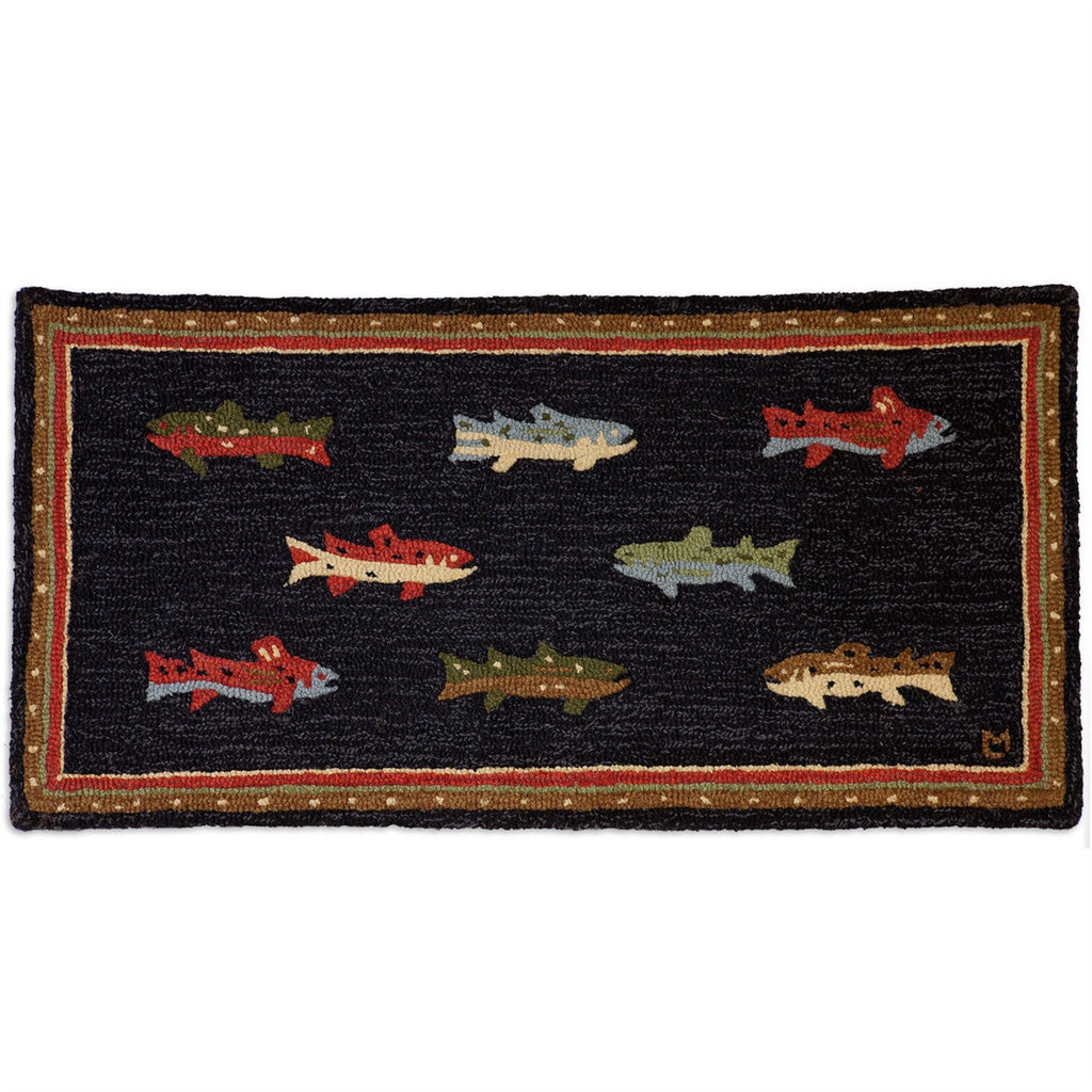 River Fish Hooked Wool Rug 2' x 4'