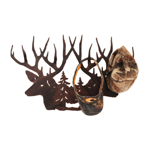 Iron Deer Head Scene Hat Rack or Wall Art