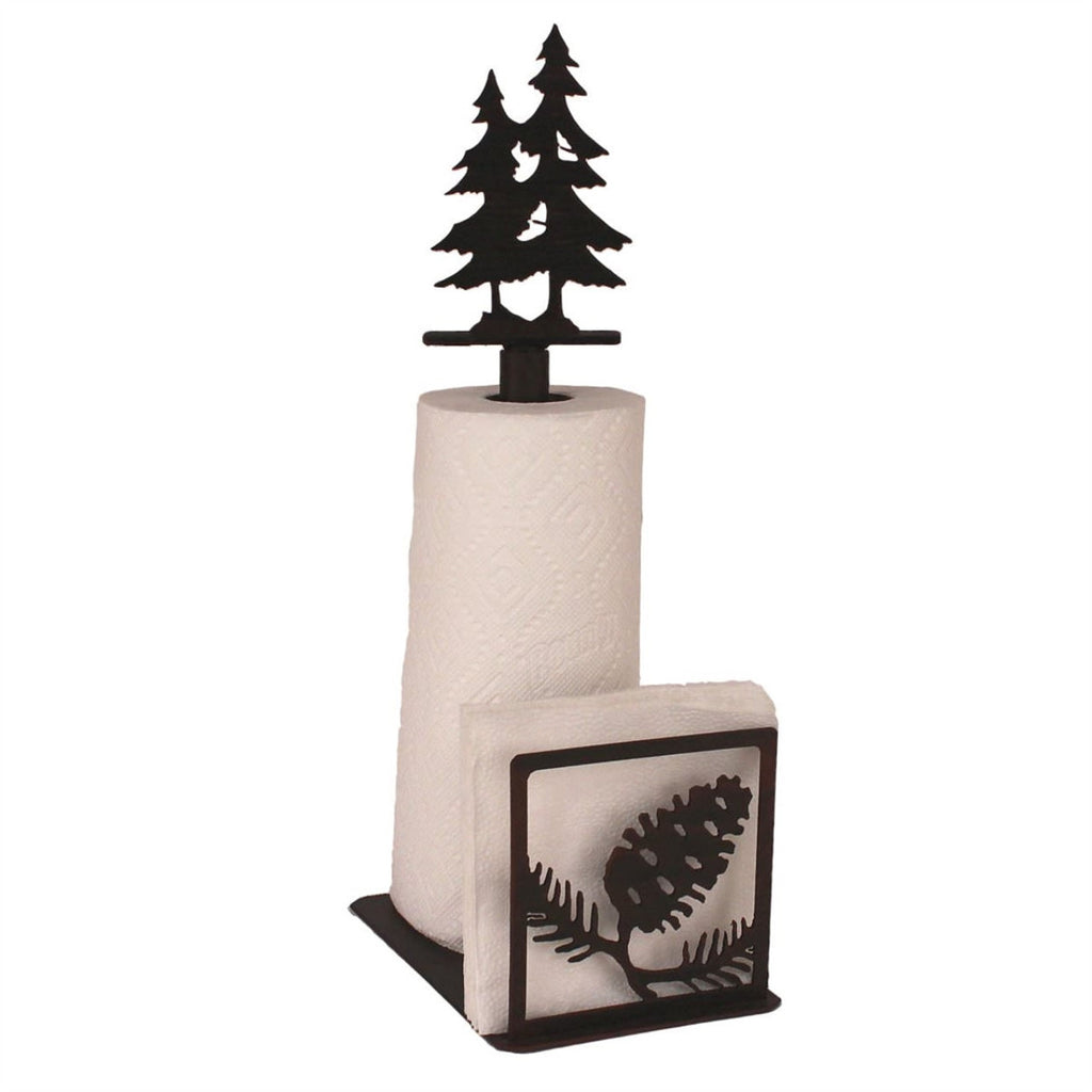 Iron Pine Cone Paper Towel/Napkin Holder with Pine Tree Topper