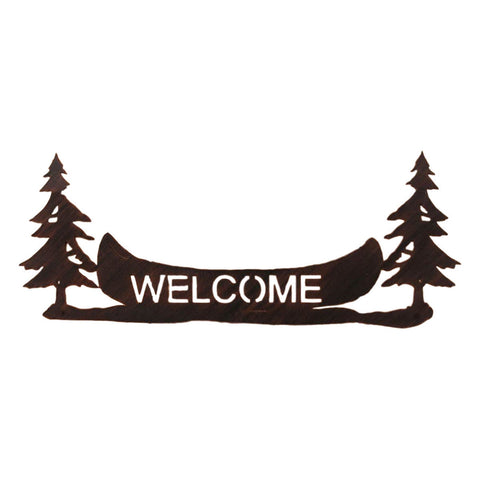"Iron Pine Tree/Canoe Welcome Sign Wall Art in 24"" or 36"" wide"