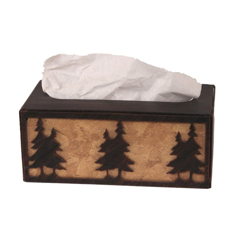 Iron Double Pine Tree Rectangular Tissue Box