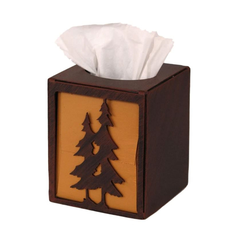 Iron Double Pine Tree Square Tissue Box