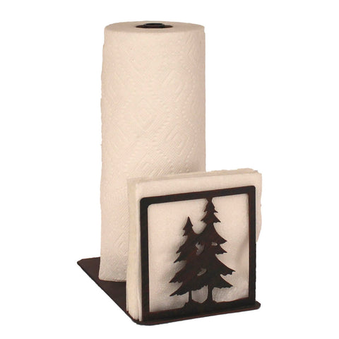 Iron Double Pine Tree Paper Towel/Napkin Holder