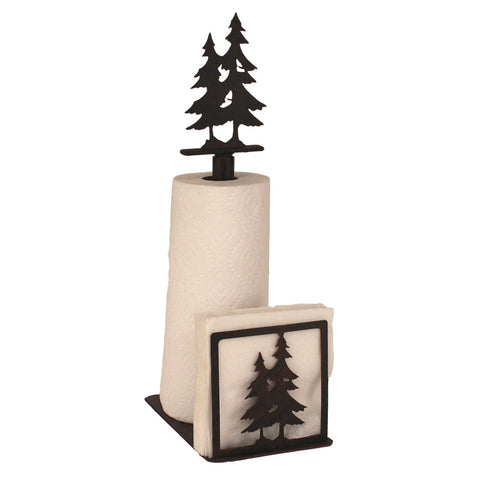 Iron Double Pine Tree Paper Towel/Napkin Holder with Pine Tree Topper