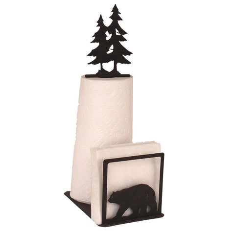Iron Bear Paper Towel/Napkin Holder with Pine Tree Topper