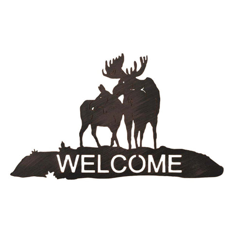 Iron Moose Scene Welcome Sign Wall Art