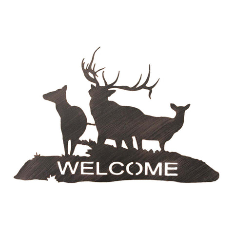 Iron Elk Scene Welcome Sign Wall Art