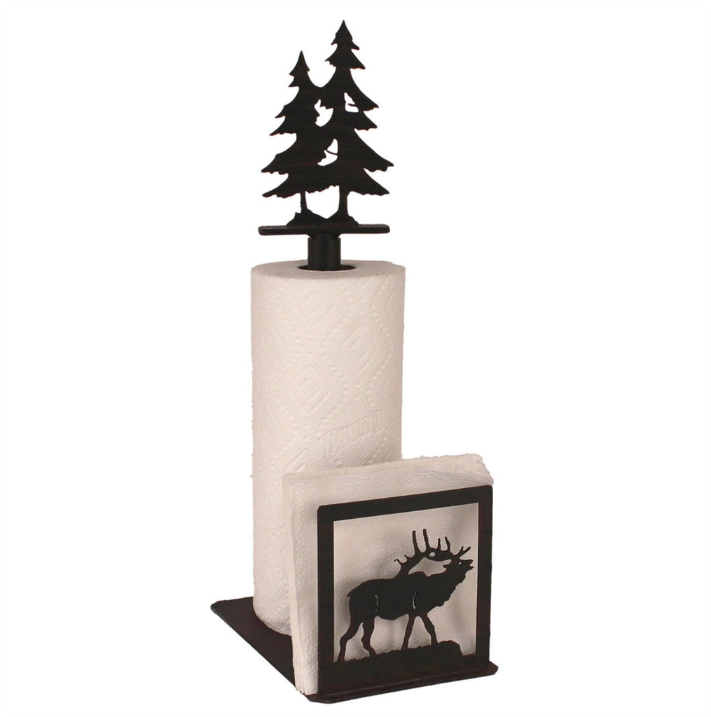 Iron Elk Paper Towel/Napkin Holder with Pine Tree Topper