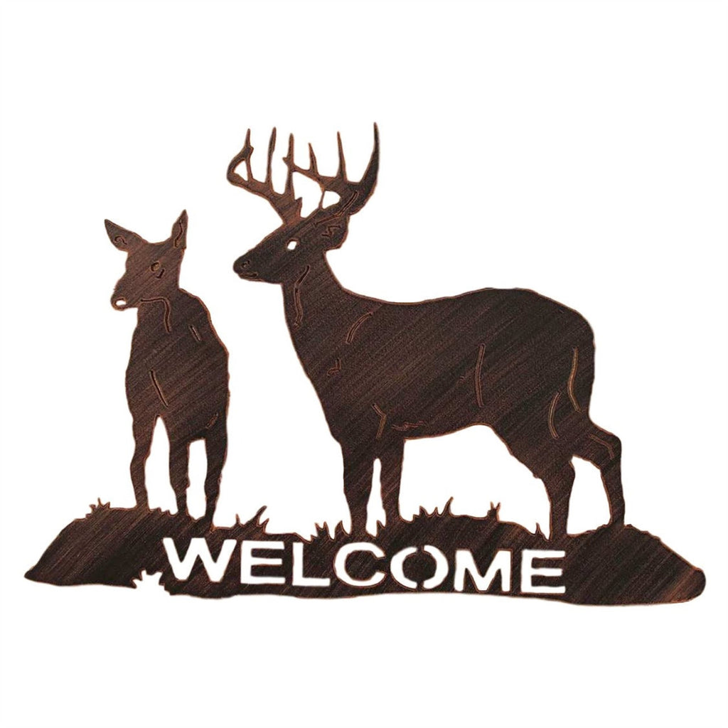 Iron Buck & Doe Welcome Sign Wall Art