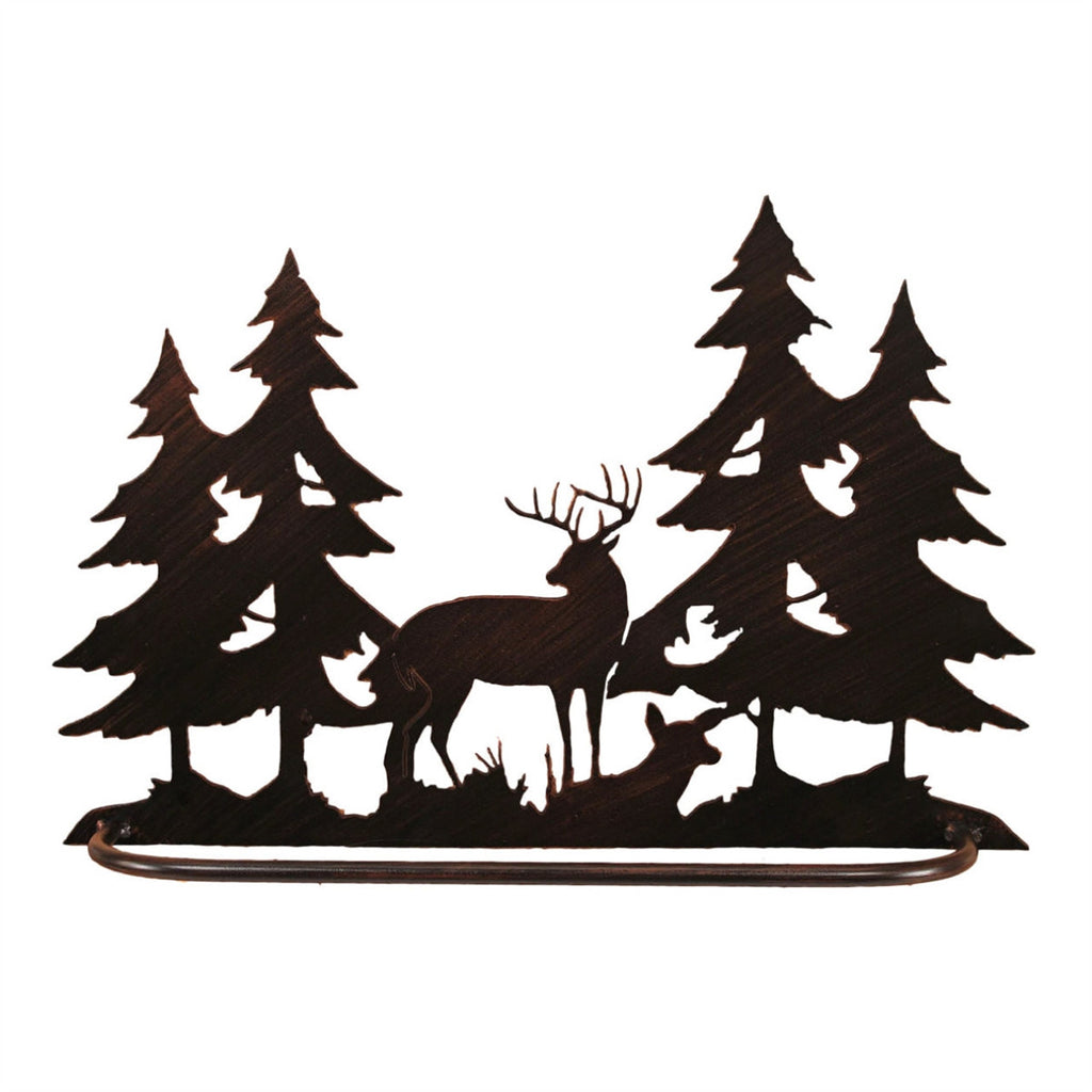 Iron Deer Scene Towel Bar