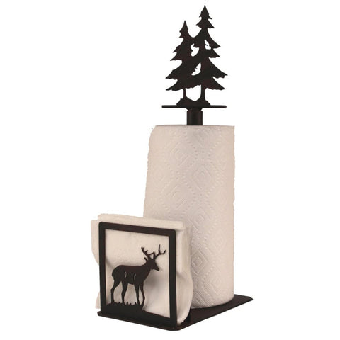 Iron Deer Paper Towel/Napkin Holder with Pine Tree Topper