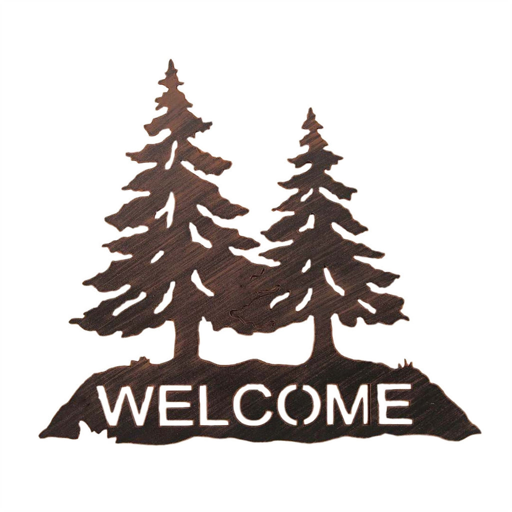 Iron Pine Tree Welcome Sign Wall Art