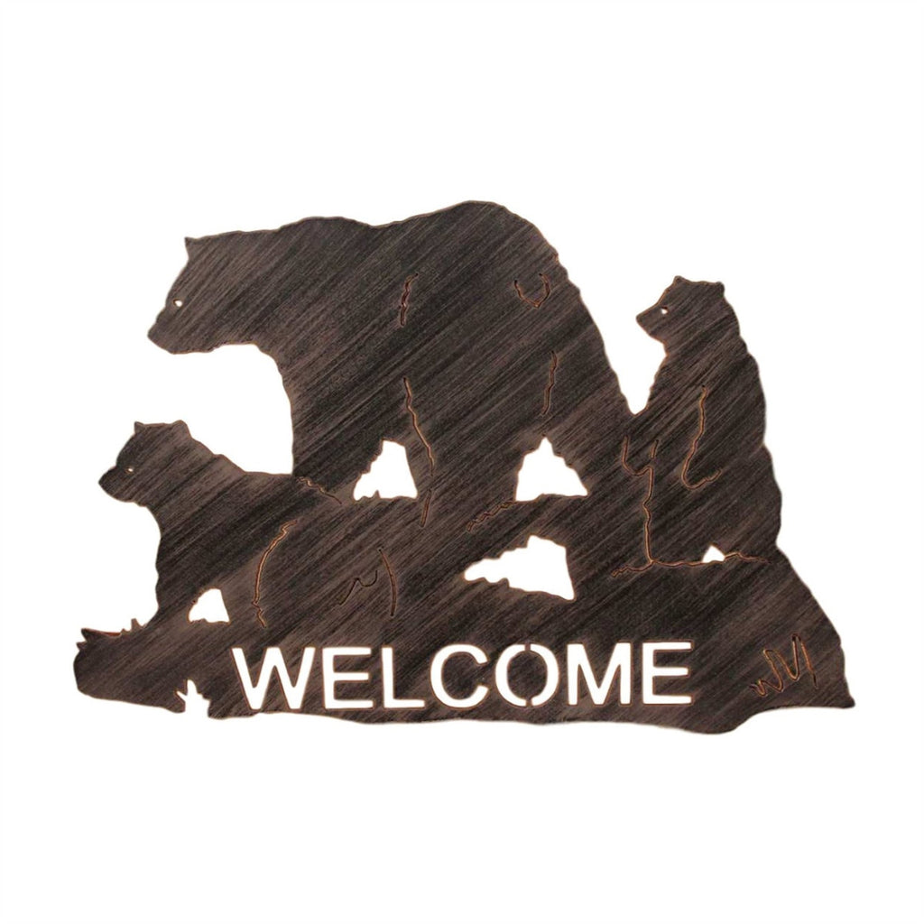 Iron Bear Family Welcome Sign Wall Art