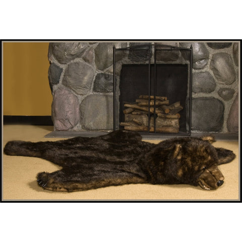 Faux Fur Grizzly Bear Skin Rug
