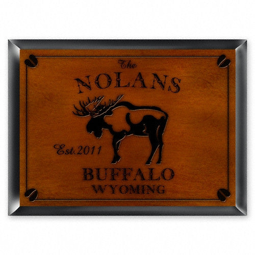 Personalized Traditional Cabin Signs - Moose