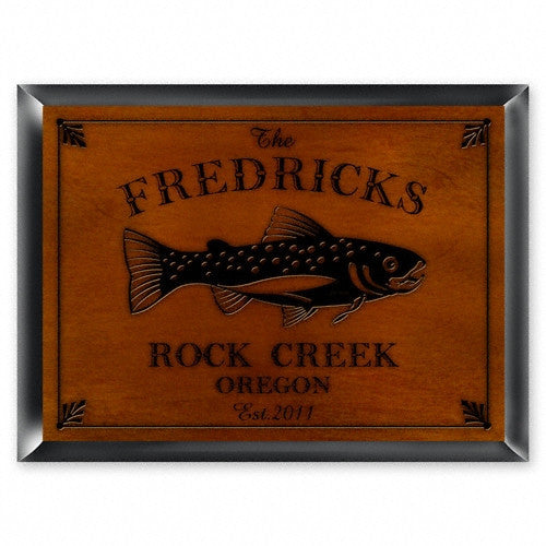 Personalized Traditional Cabin Signs - Trout