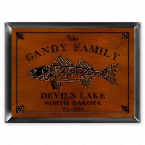 Personalized Traditional Cabin Signs - Walleye