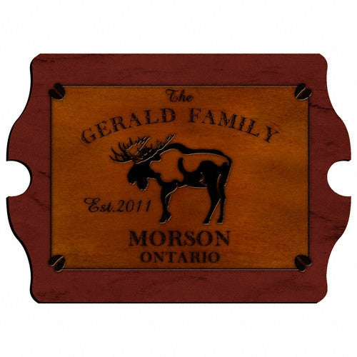 Personalized Vintage Cabin Signs - Moose