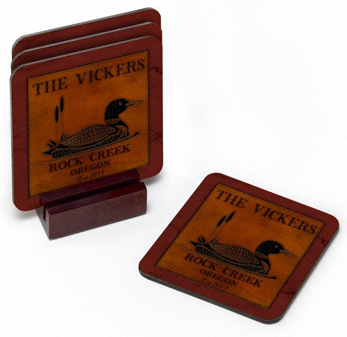 Personalized Cabin Coaster Set - Loon