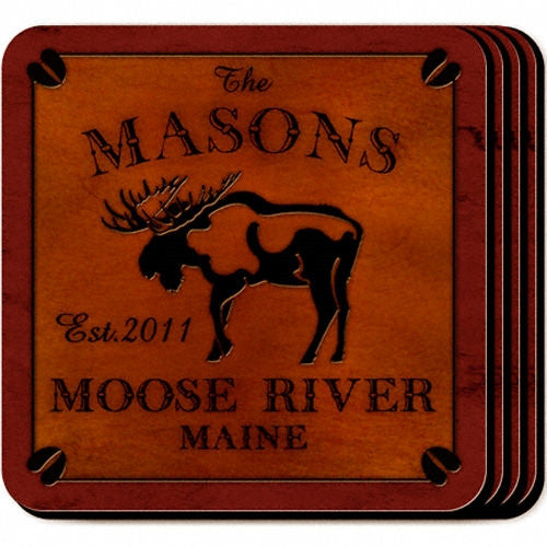 Personalized Cabin Coaster Set - Moose