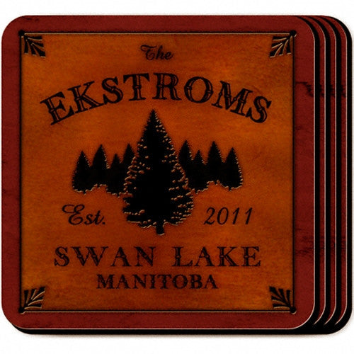 Personalized Cabin Coaster Set - Spruce